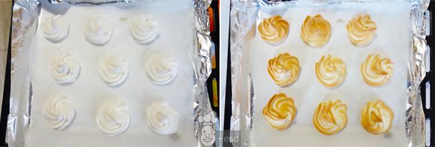 merengues al horno con crema inglesa