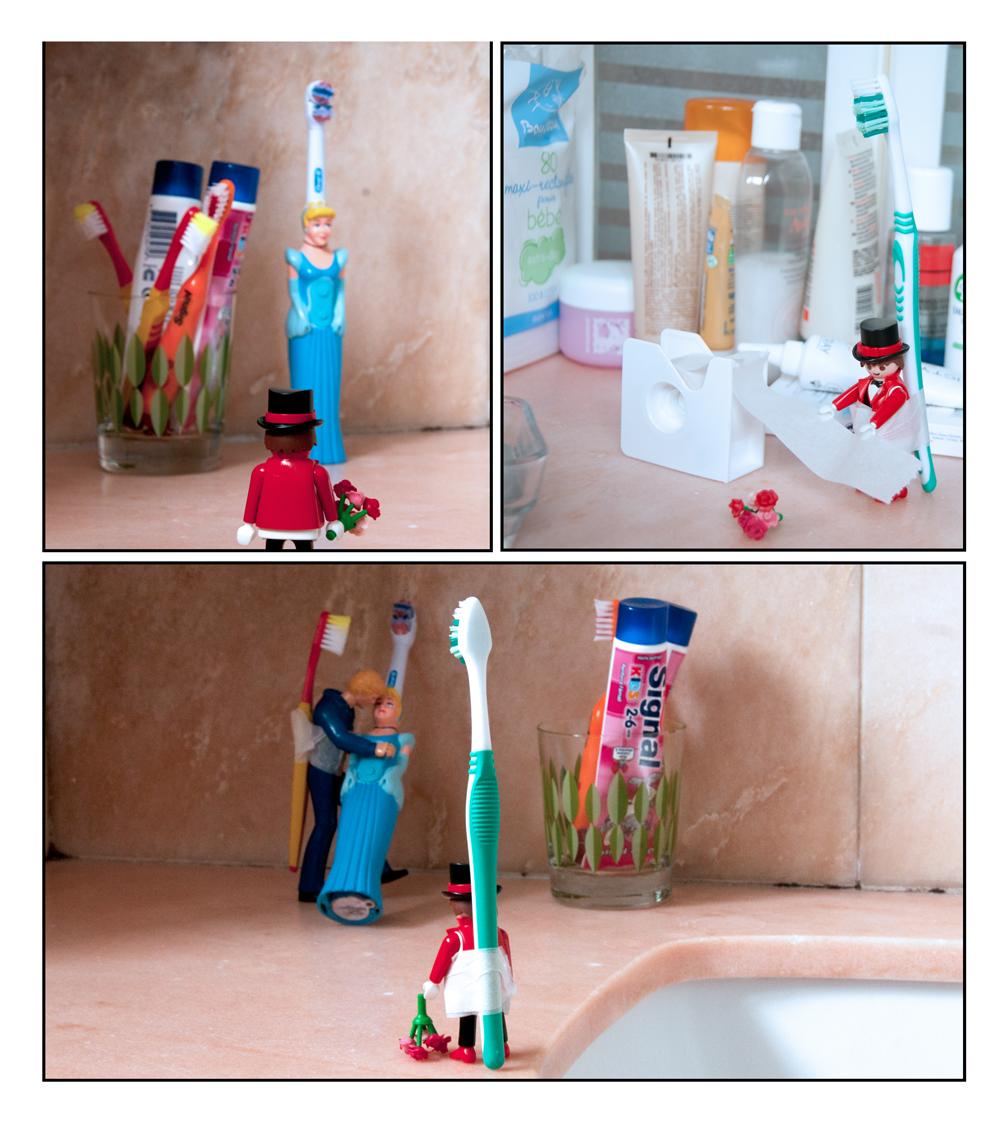 Photo humoristique d'un playmobil amoureux d'une princesse brosse à dents