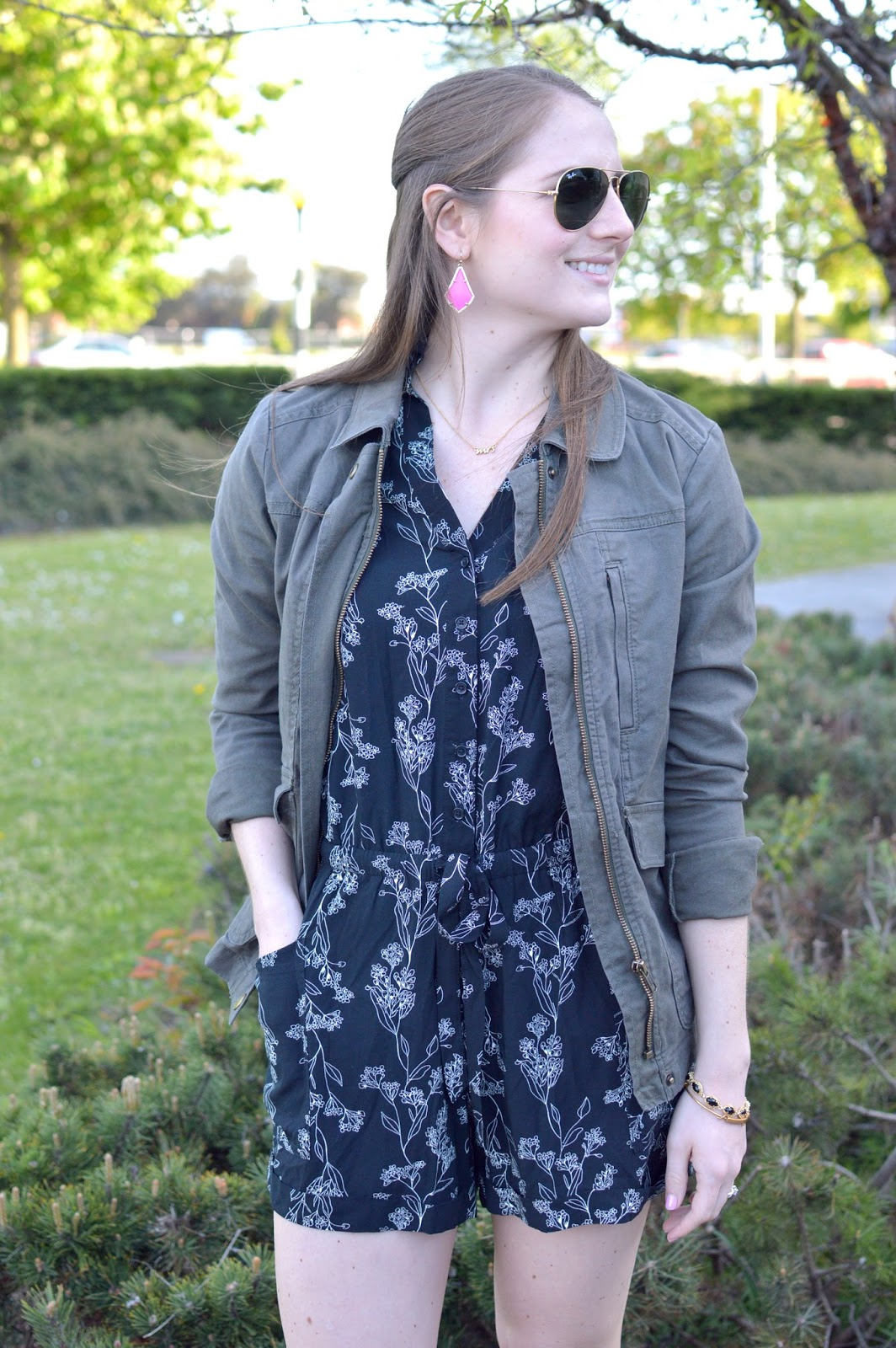 black romper styling ideas | spring outfit ideas| what to wear with a military jacket | kendra scott pink earrings | spring outfit ideas | a memory of us | black floral romper |