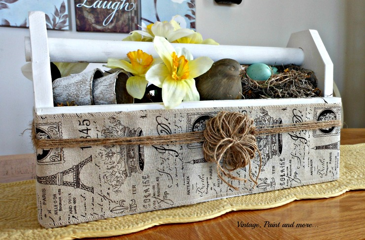 Vintage, Paint and more... vintage toolbox wrapped with French burlap ribbon and twine for a Spring table centerpiece