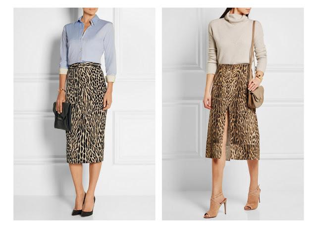 Юбки с леопардовым принтом в сочетании с рубашкой и водолазкой