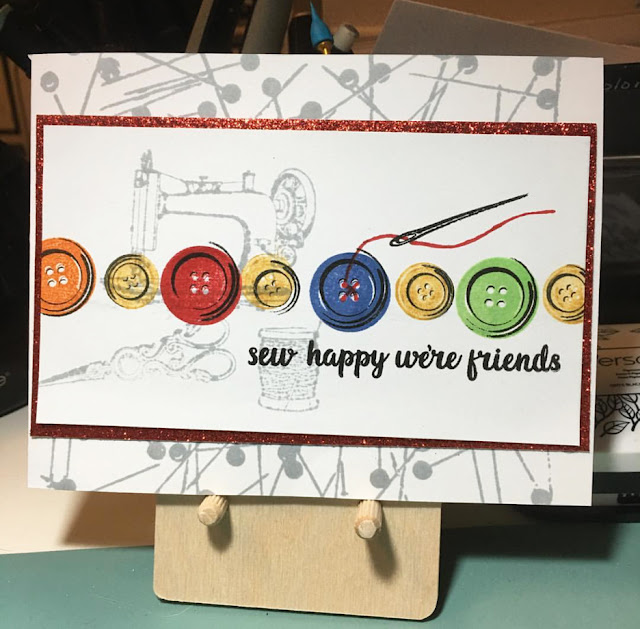 Sunny Studio Stamps: Cute As A Button Sew Happy We're Friends card by Bev Ohm