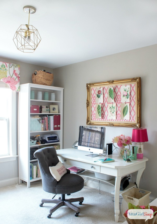 feminine home office and craft room