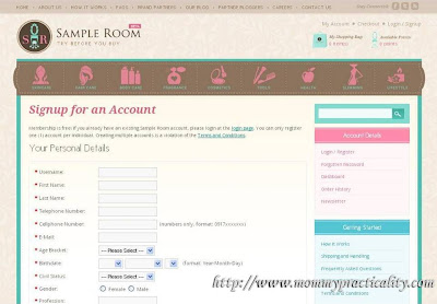 Sample Room: Register Account