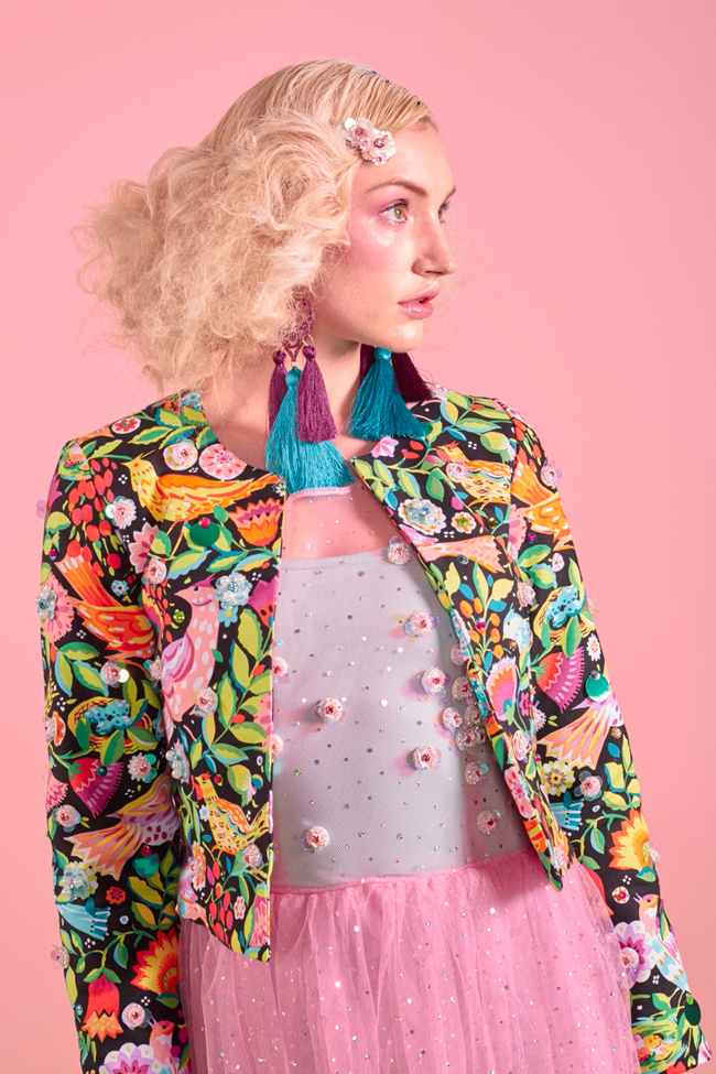 jacket, embellished, bird print