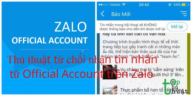 Thủ thuật từ chối nhận tin nhắn từ Official Account trên Zalo