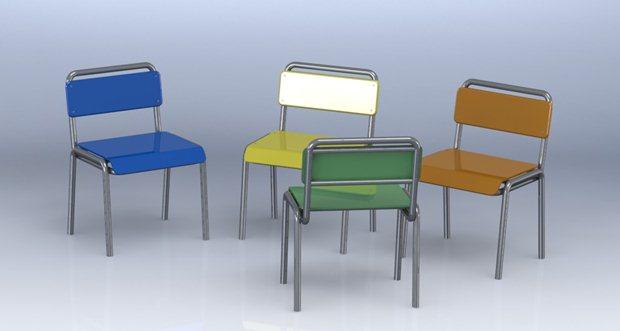 Perspectiva frontal de la composición de las 4 sillas