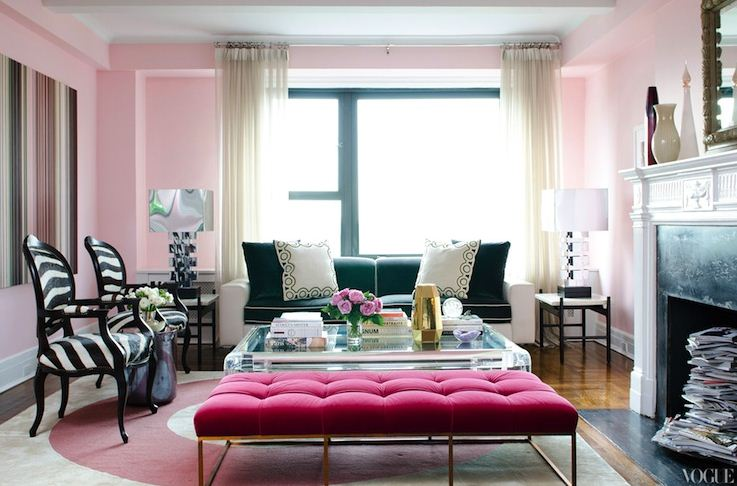Pink Tufted Ottoman With Gold Pinkblack Interior Design Living Room Decorating