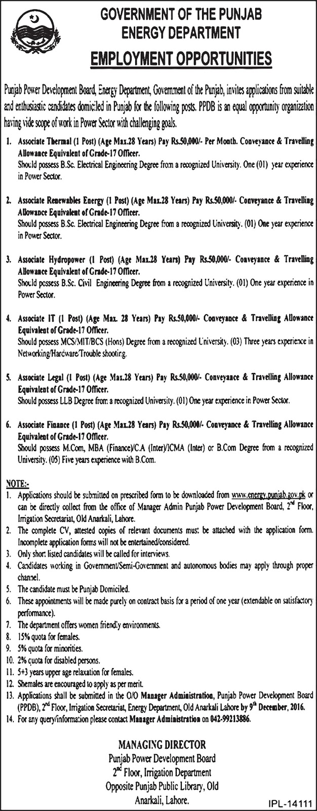 Jobs in Energy Department Govt of Punjab