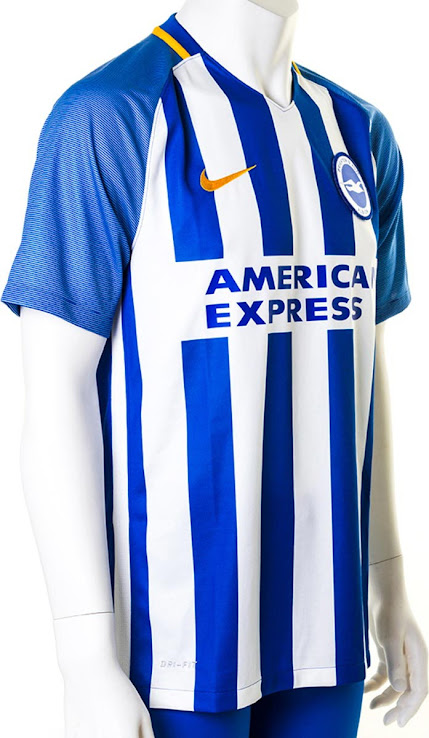 14fd30c39b1 Brighton   Hove Albion 17-18 Home Kit. This is the Nike Brighton home  jersey for the 2017-2018 Premier League season. +2. 3 of 3. 1 of 3. 2 of 3