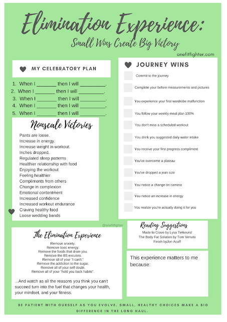 weightloss wins, celebrate small wins, weight loss goal sheet, celebrate ideas for weight loss, 2B Mindset, elimination experience, matter movement