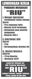 Jobs Lampung Terbaru di Rumah Makan Pindang Meranjat Riu Bandar Lampung Mei 2016