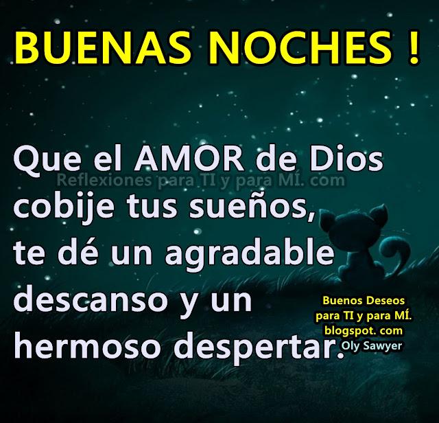 BUENAS NOCHES ! Que el AMOR de Dios cobije tus sueños, te dé un agradable descanso y un hermoso despertar.