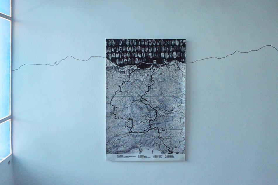 Mapa del Camino de los Españoles intervenido con huellas