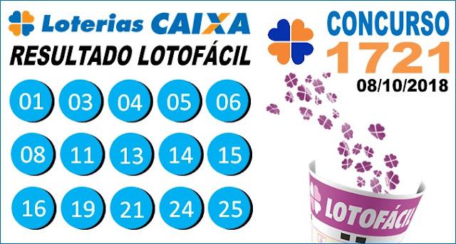 Resultado da Lotofácil concurso 1721 de 08/10/2018 (Imagem: Informe Notícias)