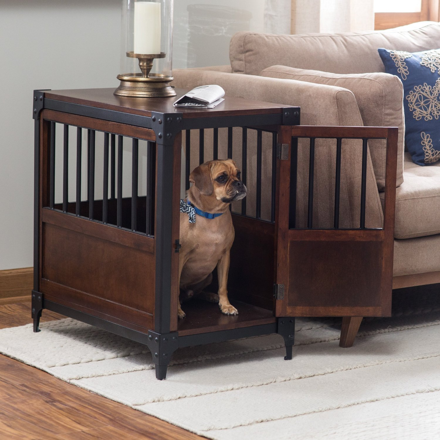 cool end table dog crate furniture | Dog Crates That Look Like Furniture Pieces