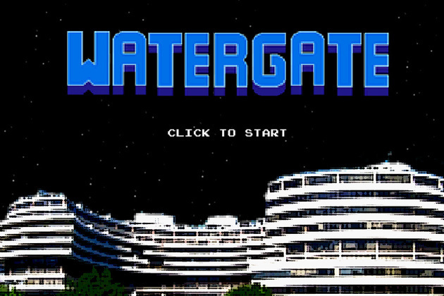 "video game has just made its appearance on the canvas, ""Watergate: the video game"