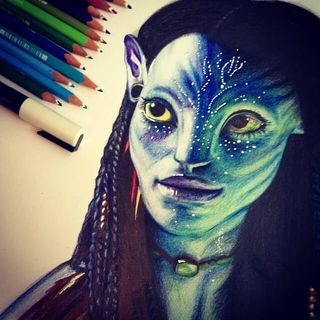10-Neytiri from Avatar-Chris-Superhero-and-Villain-Realistic-Pencil-Drawings-www-designstack-co