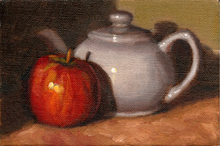 Oil painting of a red apple beside a white porcelain teapot