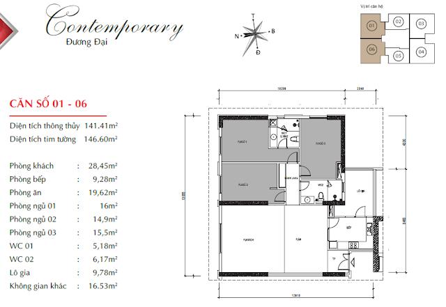Căn hộ 01 và 06 với diện tích 141m2 thông thủy, 03 phòng ngủ