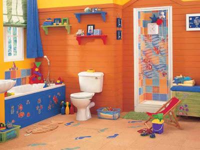 Desain Interior Kamar Mandi Untuk Anak Yang Ceria