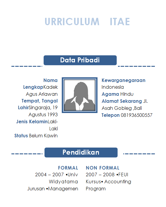 Contoh CV Yang Baik Dan Benar