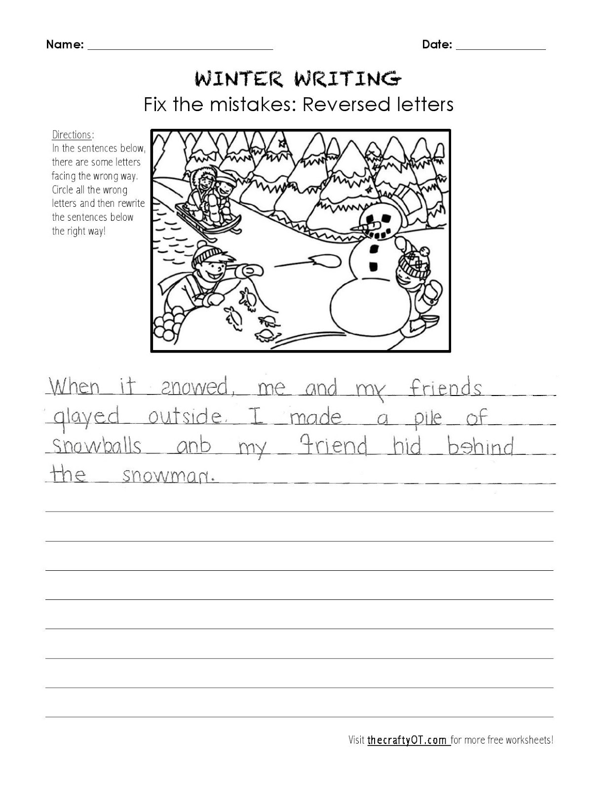 Winter Ot Worksheet