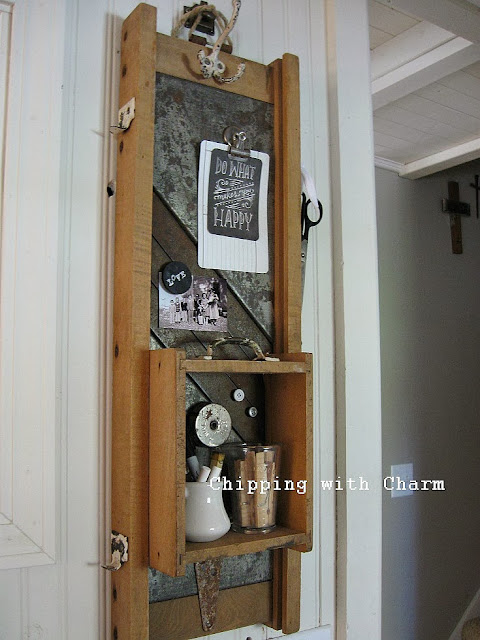 Chipping with Charm:  Getting Organized with Junk, Kraut Cutter turned Memo Station...http://chippingwithcharm.blogspot.com/