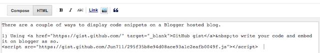 Embedding GitHub gist script