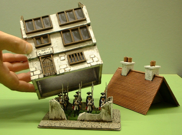 28mm wargaming with 15mm buildings - League Of Augsburg