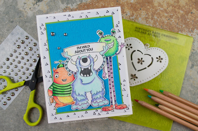 This fun birthday card, with colorful monsters, was created using the Fun Stampers Journey Eyes on You stamp set, and Birthday Bash Embossing Folder.