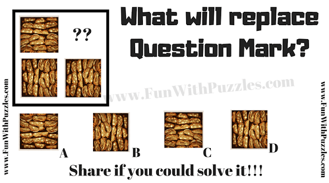 This is Non Verbal Reasoning Puzzle Question in which one has to find the picture which will replace the question mark