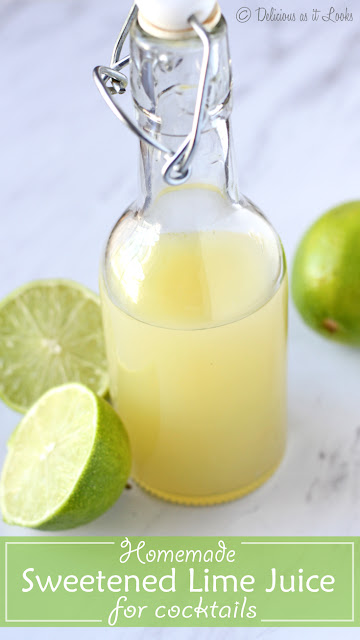 Homemade Sweetened Lime Juice for Cocktails (no HFCS!)  /  Delicious as it Looks