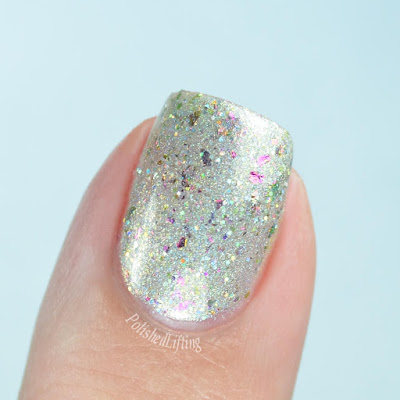 champagne nail polish close up