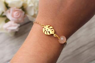 "bracelet doré ""monstera"""