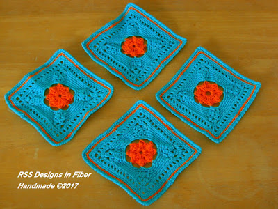 Turquoise and Orange Square Rosette Coasters Handmade By Ruth Sandra Sperling - RSS Designs In Fiber