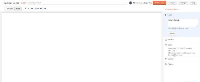Halaman edit postingan mode HTML