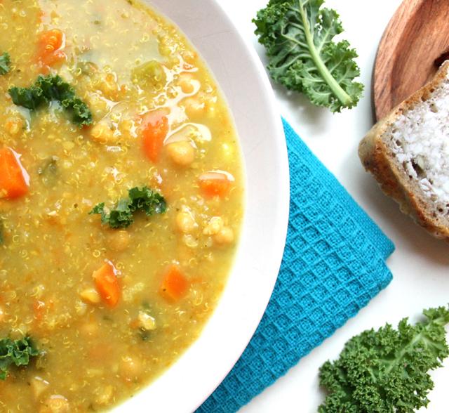 Oppskrift Quinoa Suppe Grønnkål Kikerter Næringsgjær Høstsuppe