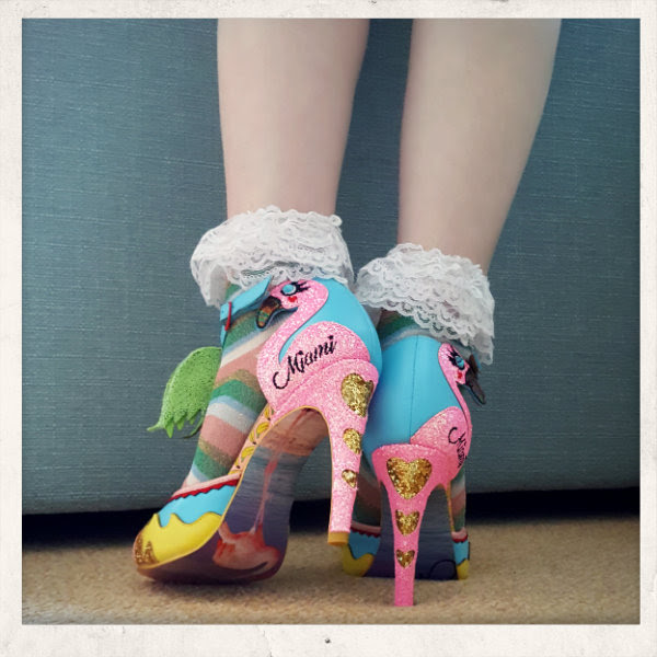 irregular choice miami flamingo glitter heel sandals