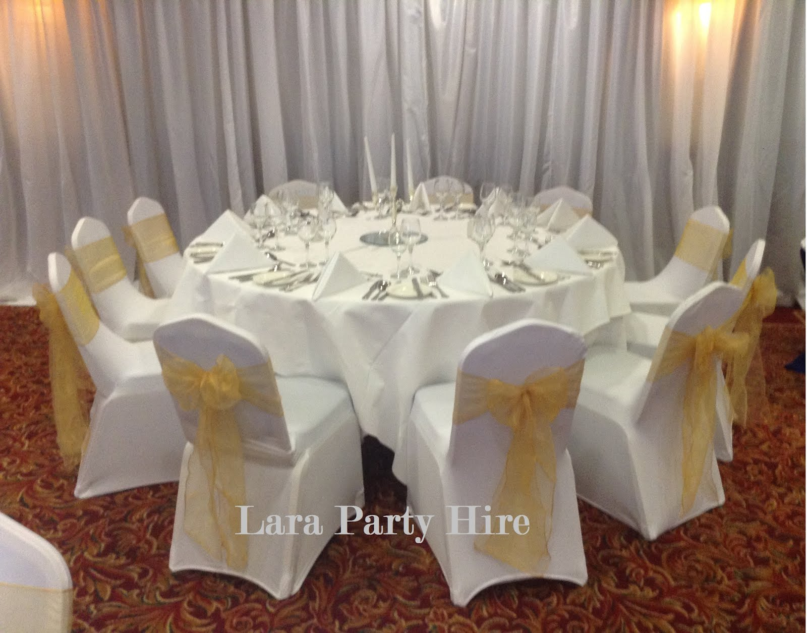 Chair covers / Gold sashes