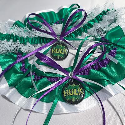Custom Hulk Wedding Garter Set by Sugarplum Garters