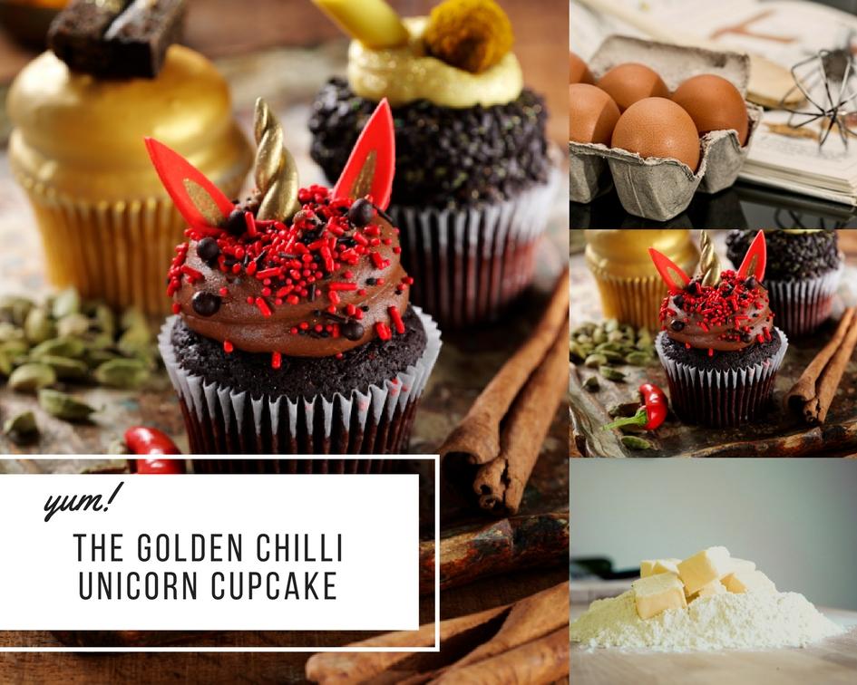 The Golden Chilli Unicorn Cupcake