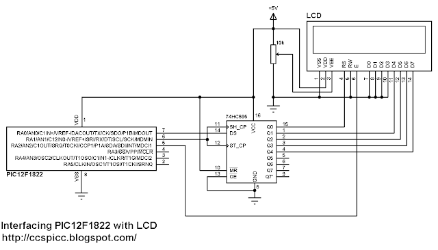 Interfacing PIC12F1822 with LCD 74HC595 shift register circuit