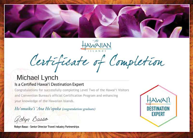 Certificate, Hawaii Destination Expert