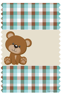 Bear in Brown and Light Blue Free Printable  Labels.
