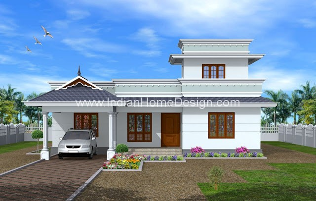 Simple Kerala Style 1950 Sq Ft Home Exterior Design