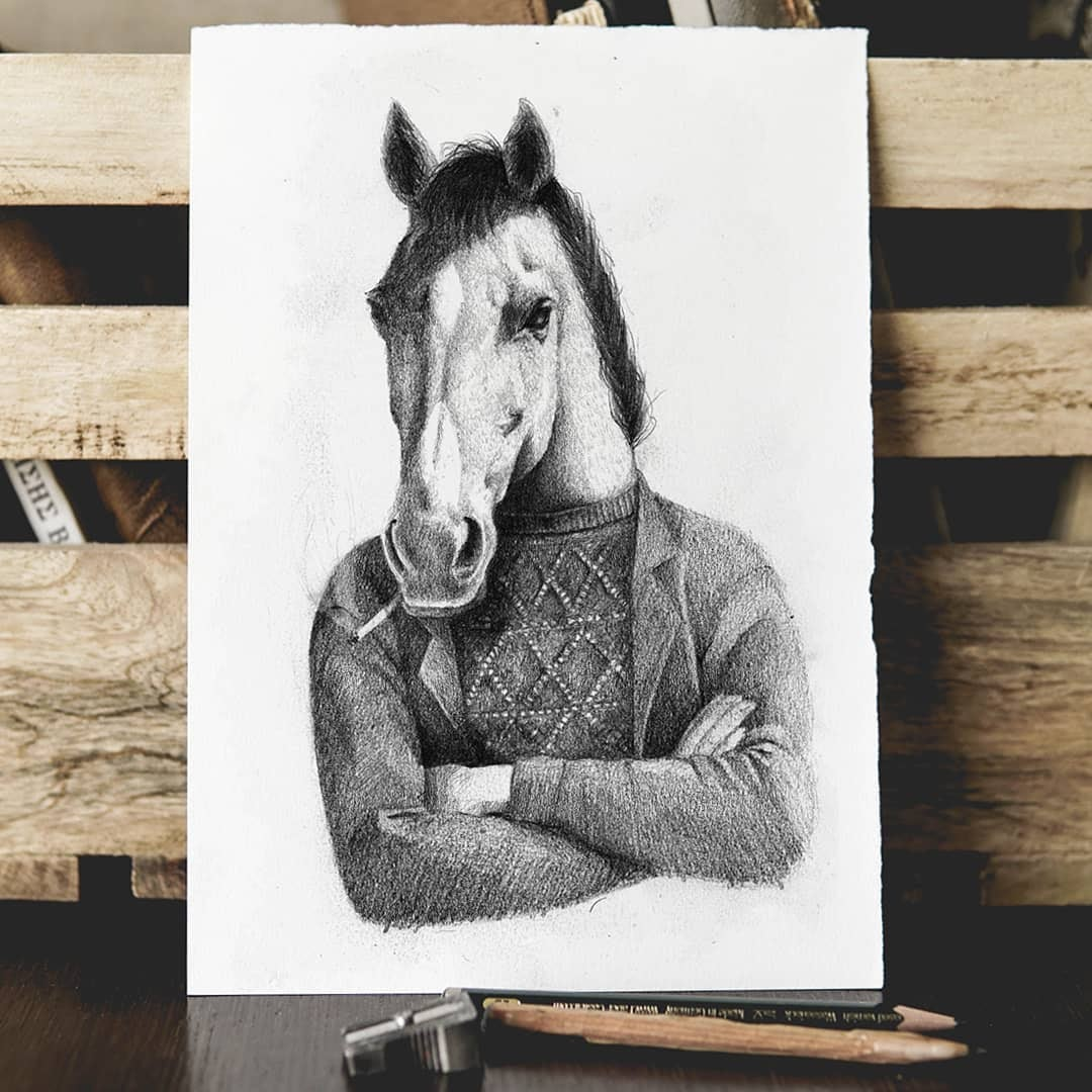 10-Horse-Chilling-Mike-Koubou-Staging-Ink-and-Pencil-Drawings-www-designstack-co