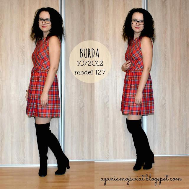 Sukienka w kratkę uszyta z wykroju Burda 10/2012 model 127