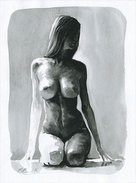 René Bui - Etude de nu à l'aquarelle #160185