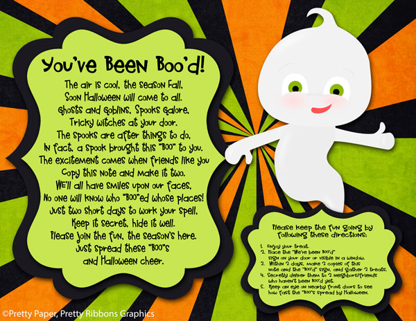 graphic about You've Been Booed Printable Pdf called Wonderful Paper, Rather Ribbons: Youve Been Bood Absolutely free Printable
